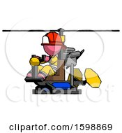 Pink Firefighter Fireman Man Flying In Gyrocopter Front Side Angle View