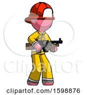 Pink Firefighter Fireman Man Tommy Gun Gangster Shooting Pose
