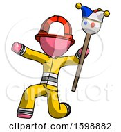 Pink Firefighter Fireman Man Holding Jester Staff Posing Charismatically