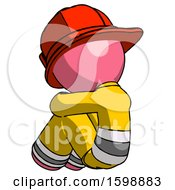 Pink Firefighter Fireman Man Sitting With Head Down Back View Facing Left