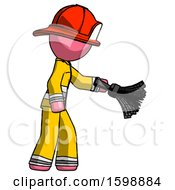 Pink Firefighter Fireman Man Dusting With Feather Duster Downwards