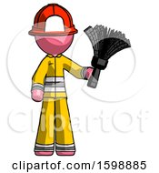 Pink Firefighter Fireman Man Holding Feather Duster Facing Forward