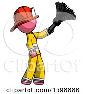 Pink Firefighter Fireman Man Dusting With Feather Duster Upwards