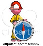 Pink Firefighter Fireman Man Standing Beside Large Compass