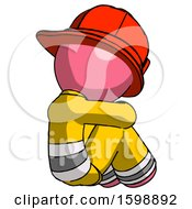 Pink Firefighter Fireman Man Sitting With Head Down Back View Facing Right