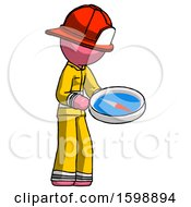Pink Firefighter Fireman Man Looking At Large Compass Facing Right
