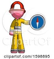 Pink Firefighter Fireman Man Holding A Large Compass