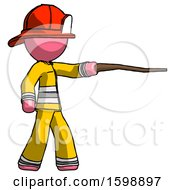 Pink Firefighter Fireman Man Pointing With Hiking Stick