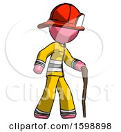 Pink Firefighter Fireman Man Walking With Hiking Stick