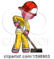 Pink Firefighter Fireman Man Cleaning Services Janitor Sweeping Side View