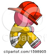 Pink Firefighter Fireman Man Sitting With Head Down Facing Sideways Right