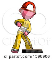 Pink Firefighter Fireman Man Cleaning Services Janitor Sweeping Floor With Push Broom
