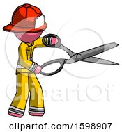 Pink Firefighter Fireman Man Holding Giant Scissors Cutting Out Something