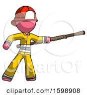Pink Firefighter Fireman Man Bo Staff Pointing Right Kung Fu Pose