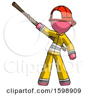 Pink Firefighter Fireman Man Bo Staff Pointing Up Pose
