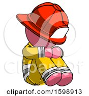 Pink Firefighter Fireman Man Sitting With Head Down Facing Angle Right