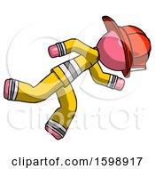 Pink Firefighter Fireman Man Running While Falling Down