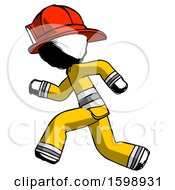 Ink Firefighter Fireman Man Running Fast Left