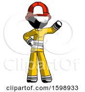Ink Firefighter Fireman Man Waving Left Arm With Hand On Hip
