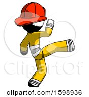 Ink Firefighter Fireman Man Kick Pose