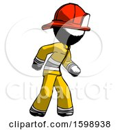 Ink Firefighter Fireman Man Suspense Action Pose Facing Right