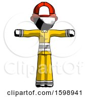 Ink Firefighter Fireman Man T Pose Arms Up Standing
