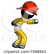 Ink Firefighter Fireman Man Sneaking While Reaching For Something
