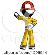 Ink Firefighter Fireman Man Waving Right Arm With Hand On Hip