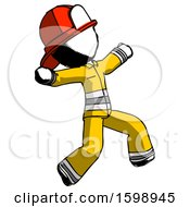 Ink Firefighter Fireman Man Running Away In Hysterical Panic Direction Right