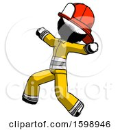 Ink Firefighter Fireman Man Running Away In Hysterical Panic Direction Left