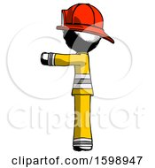 Ink Firefighter Fireman Man Pointing Left