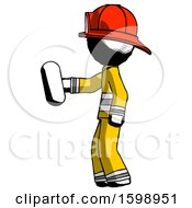 Ink Firefighter Fireman Man Holding Red Pill Walking To Left