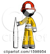 Ink Firefighter Fireman Man Standing With Large Thermometer