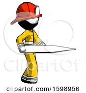 Ink Firefighter Fireman Man Walking With Large Thermometer