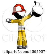 Ink Firefighter Fireman Man Holding Large Round Flask Or Beaker