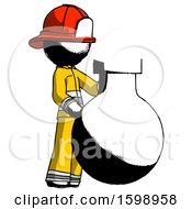 Ink Firefighter Fireman Man Standing Beside Large Round Flask Or Beaker