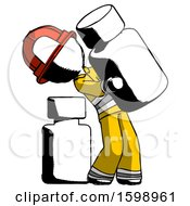 Ink Firefighter Fireman Man Holding Large White Medicine Bottle With Bottle In Background