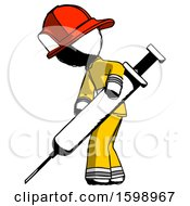Ink Firefighter Fireman Man Using Syringe Giving Injection