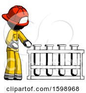 Ink Firefighter Fireman Man Using Test Tubes Or Vials On Rack