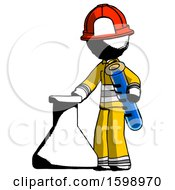 Ink Firefighter Fireman Man Holding Test Tube Beside Beaker Or Flask
