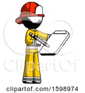 Ink Firefighter Fireman Man Using Clipboard And Pencil