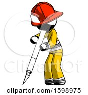 Ink Firefighter Fireman Man Cutting With Large Scalpel