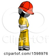 Ink Firefighter Fireman Man Thinking Wondering Or Pondering Rear View