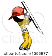Ink Firefighter Fireman Man Stabbing Or Cutting With Scalpel