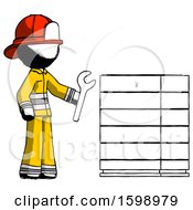Ink Firefighter Fireman Man Server Administrator Doing Repairs