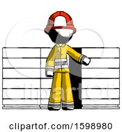 Poster, Art Print Of Ink Firefighter Fireman Man With Server Racks In Front Of Two Networked Systems