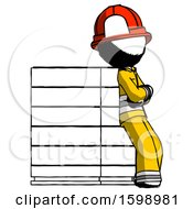 Poster, Art Print Of Ink Firefighter Fireman Man Resting Against Server Rack Viewed At Angle