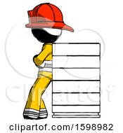 Poster, Art Print Of Ink Firefighter Fireman Man Resting Against Server Rack