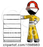 Poster, Art Print Of Ink Firefighter Fireman Man With Server Rack Leaning Confidently Against It