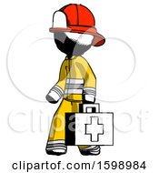 Ink Firefighter Fireman Man Walking With Medical Aid Briefcase To Left
